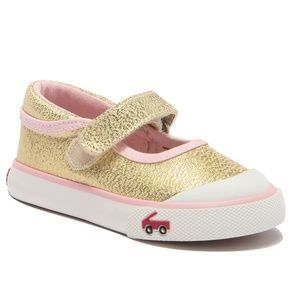 Marie Metallic Gold Mary Jane Sneakers Toddler 4